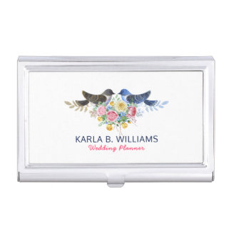 Love Birds Colorful Wedding Bouquet Business Card Holder