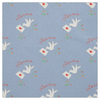 Love Birds Cornflower Blue Textile Pattern Fabric