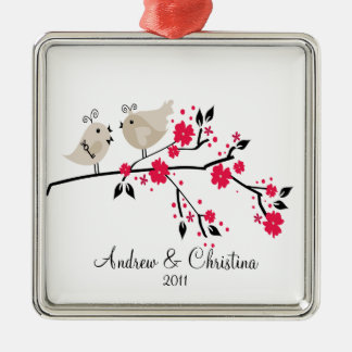 Love Birds Couple Cute 1st Christmas Ornament