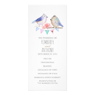 love birds couple wedding programs rack card