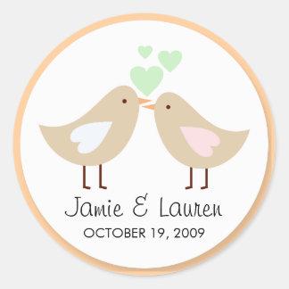 Love Birds Custom Wedding Seal Round Sticker