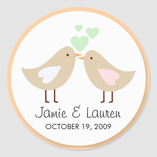Love Birds Custom Wedding Seal Sticker