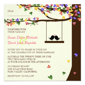 "Love Birds Falling Colorful Hearts Oak Tree 5.25"" Square Invitation Card"