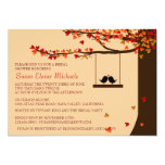 "Love Birds Falling Hearts Oak Tree Bridal Shower 5"" X 7"" Invitation Card"
