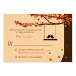 "Love Birds Falling Hearts Oak Tree RSVP 3.5"" X 5"" Invitation Card"