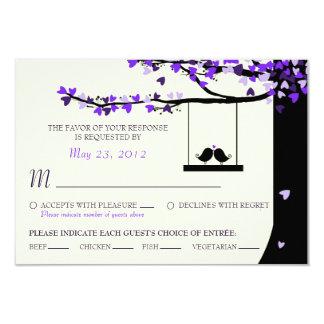 "Love Birds Falling Hearts Oak Tree RSVP (Meal) 3.5"" X 5"" Invitation Card"