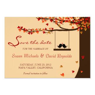 "Love Birds Falling Hearts Oak Tree Save the Date 5"" X 7"" Invitation Card"