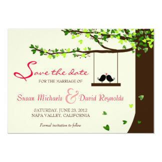 "Love Birds Falling Hearts Oak Tree Save the Date 5"" X 7"" Invitation Card"