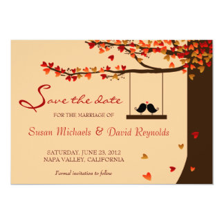 Love Birds Falling Hearts Oak Tree Save the Date Card