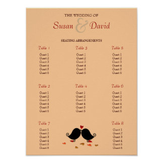 Love Birds Falling Hearts Oak Tree Seating Chart Poster