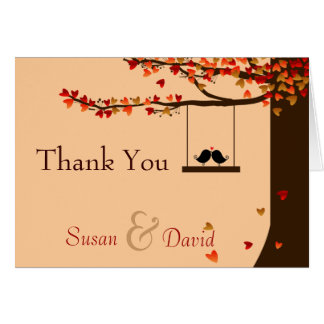 Love Birds Falling Hearts Oak Tree Thank You Note Card