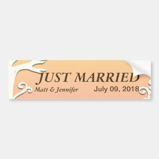 Love Birds Forever on Pastel Sunset Coral Pink Bumper Sticker