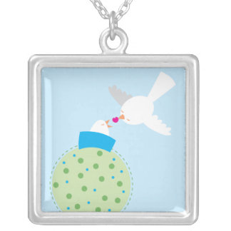 love birds giving silver plated necklace
