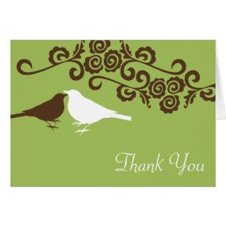 Love birds green custom photo wedding thank you card