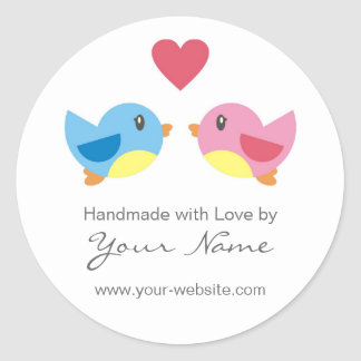 Love Birds Handmade By Personalised Stickers