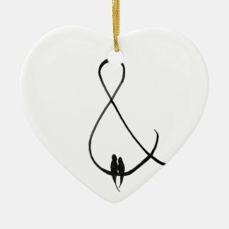 Love Birds in an ampersand Ceramic Ornament