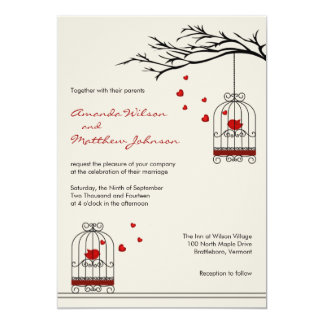 Love Birds in Birdcages Wedding Invitations