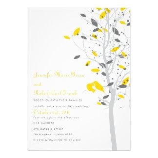 Love Birds in Tree - Yellow Gray Invitation