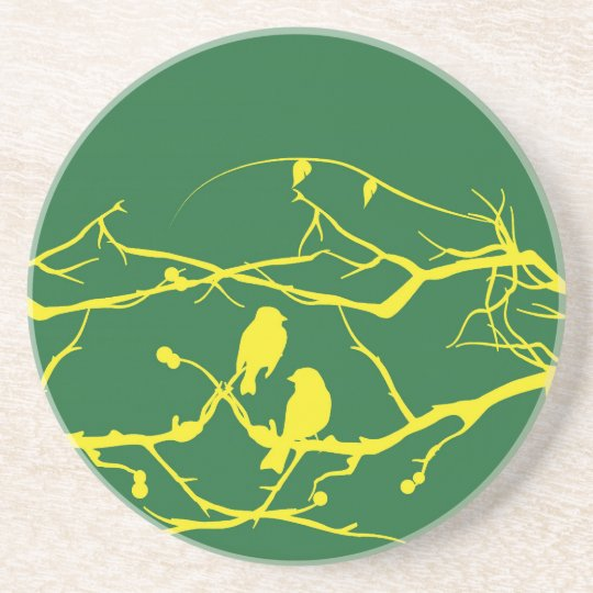 Love Birds in Yellow and Green Coaster