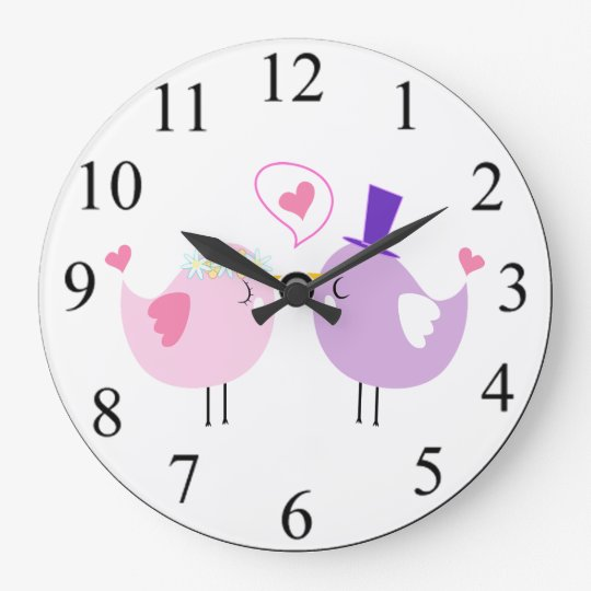 Love Birds Large Clock