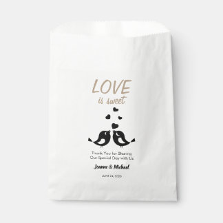 Love birds Love is Sweet Thank You wedding Favour Bag