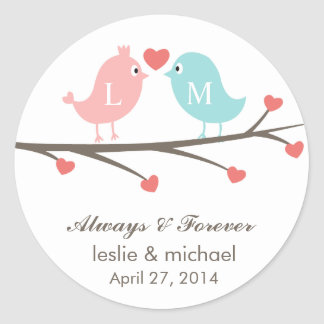 Love Birds Monogram Wedding Favor Stickers
