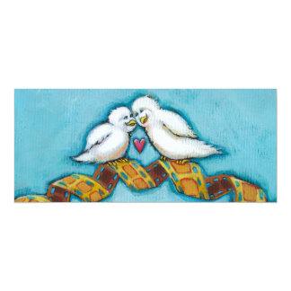 "Love birds movie lover film buff romantic painting 4"" x 9.25"" invitation card"