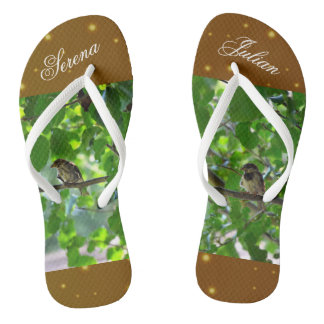 Love birds on a tree branch flip flops