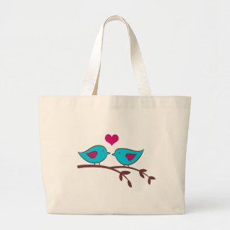 Love Birds on green Large Tote Bag