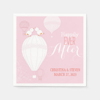 Love Birds on Hot Air Balloons Pink Wedding Disposable Napkins
