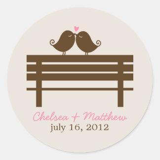 Love Birds on Park Bench Wedding Classic Round Sticker
