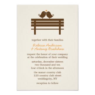 Love Birds on Park Bench Wedding 5x7 Paper Invitation Card