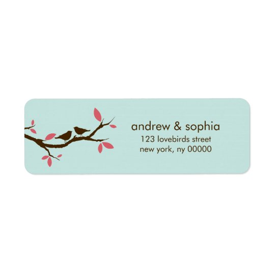 Love Birds on Tree Wedding Return Address Label