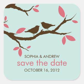 Love Birds on Tree Wedding Square Sticker