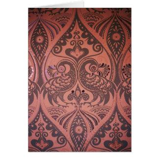 Love Birds Pattern On Leather Card