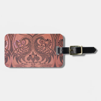 Love Birds Pattern On Leather Luggage Tag
