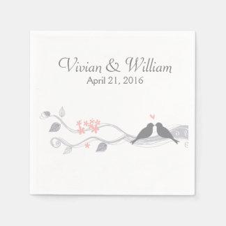Love Birds Personalized Wedding Paper Napkin