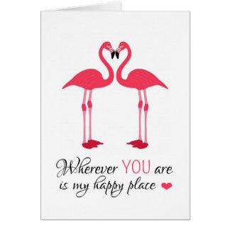Love Birds Pink Flamingos Card