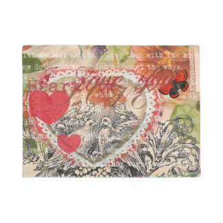Love Birds Pink Heart Doormat