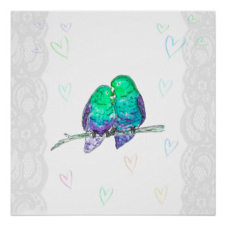 Love birds poster blue