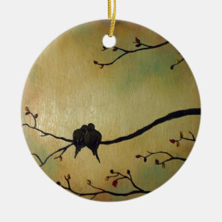 Love birds round ceramic ornament