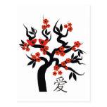Love Birds Sakura cherry tree Chinese love symbol Postcard