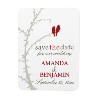 Love Birds Save the Date Magnet (maroon)