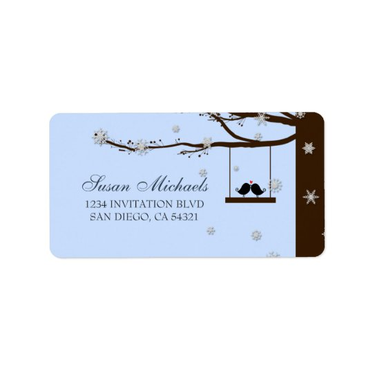 Love Birds Snowflakes Oak Tree Address Labels