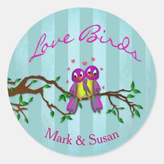 LOVE BIRDS - Stickers, Round 1½ inch (sheet of 20) Round Sticker