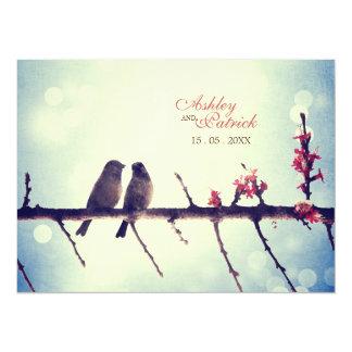 Love birds story horizontal invitations