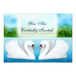 Love Birds Swans Invitation