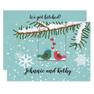 Love Birds Swing Winter Reception Only Invitation