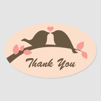 Love Birds Thank You Oval Sticker