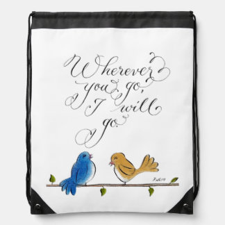 Love birds typography wherever you go drawstring backpacks